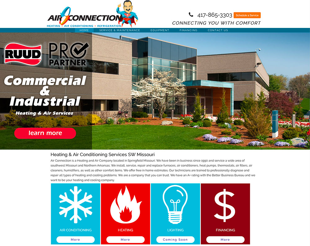 screenshot of home page for Air connection