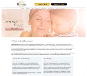 screenshot of home page for In time of need