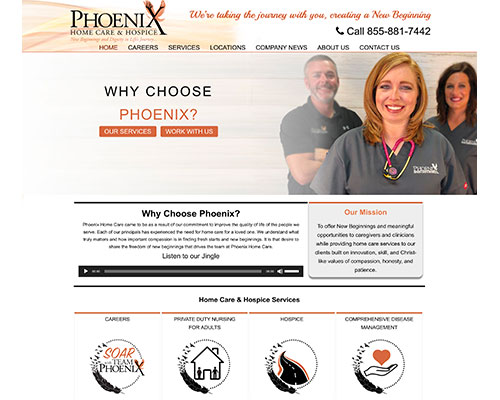 Screenshot of Phoenix Home Health Care's Home page
