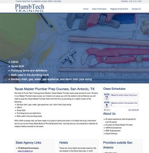 screenshot of home page for Plumtech Training